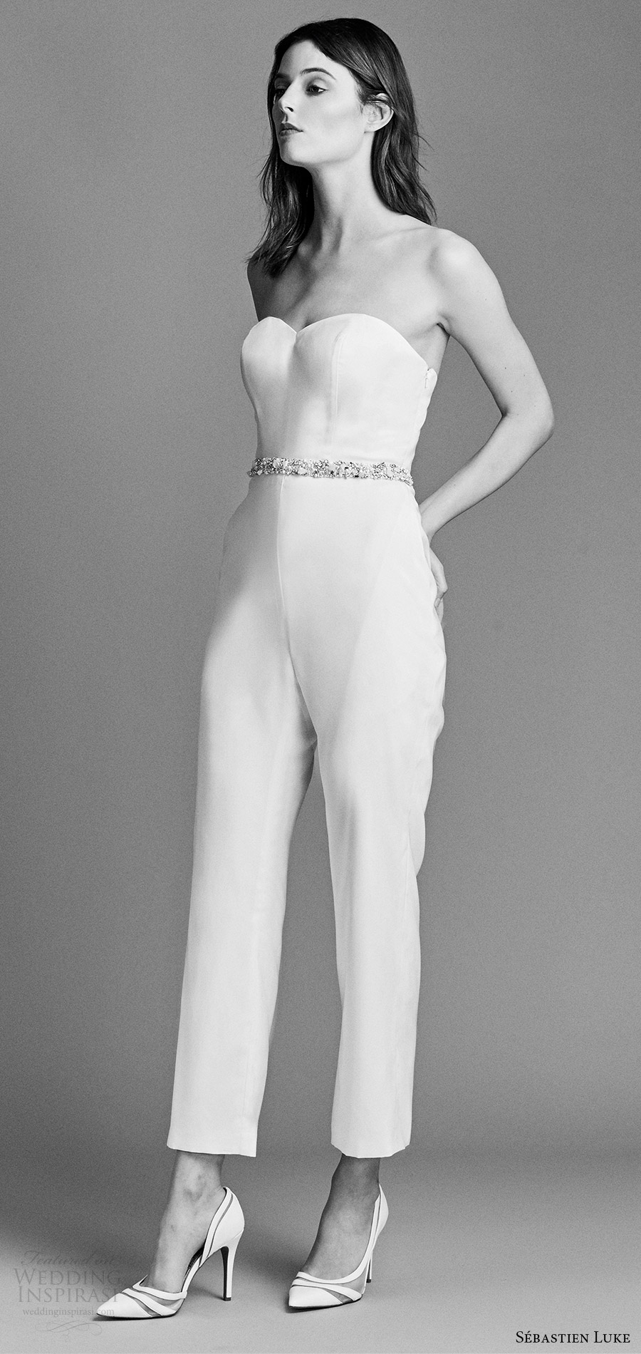 sebastien luke spring 2018 bridal strapless sweetheart jumpsuit pant wedding dress (18b16) mv modern chic