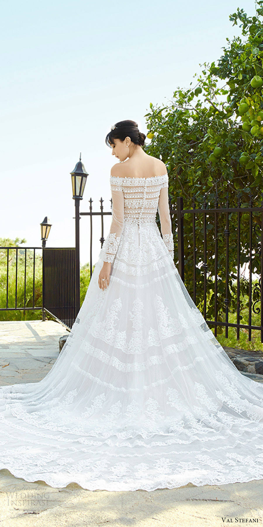 val stefani fall 2017 bridal illusion long sleeves off shoulder a line ball gown lace wedding dress (d8138) zbv sheer back princess romantic long semi cathedral train