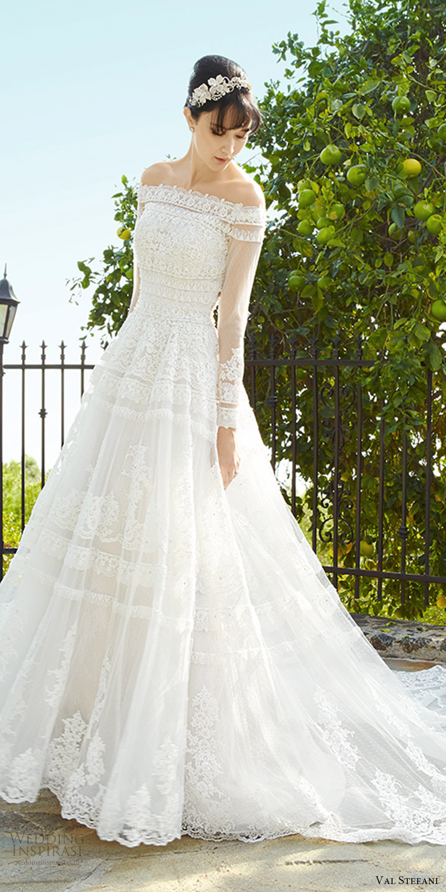 val stefani fall 2017 bridal illusion long sleeves off shoulder a line ball gown lace wedding dress (d8138) zfv sheer back princess romantic long semi cathedral train