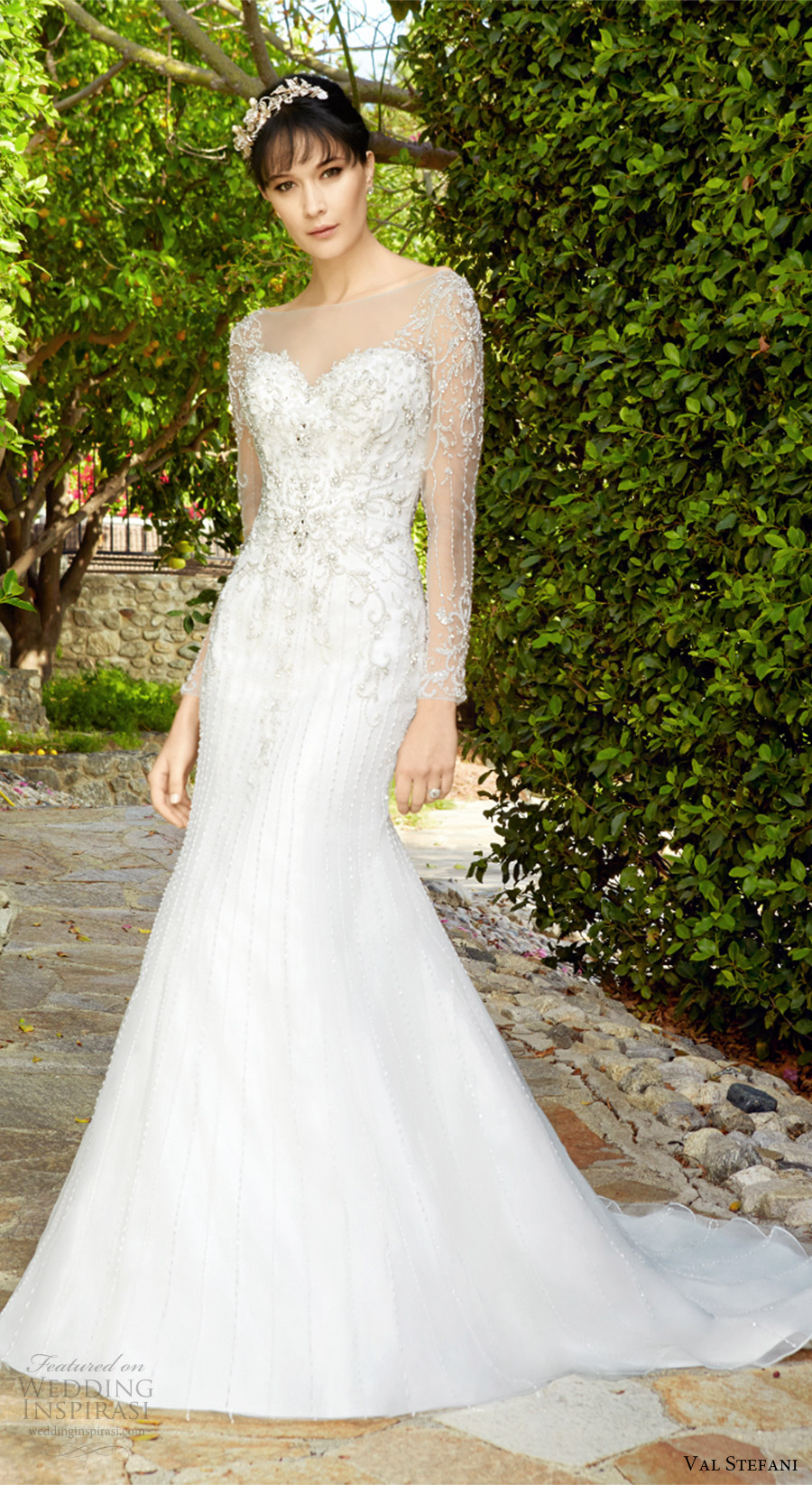 val stefani fall 2017 bridal illusion long sleeves sweetheart beaded bodice trumpet wedding dress (d8134) mv chapel train elegant