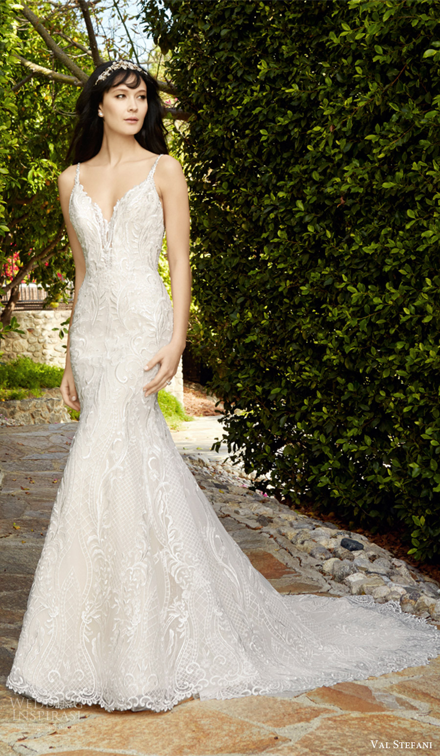 val stefani fall 2017 bridal sleeveless thin beaded straps sweetheart mermaid lace wedding dress (d8133) mv long cathedral train elegant