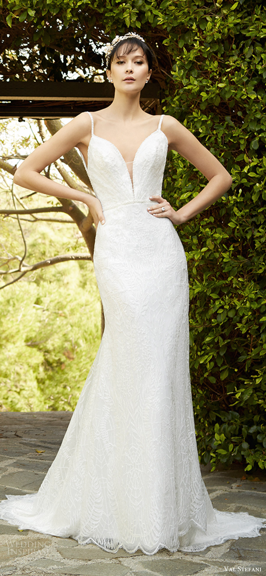 val stefani fall 2017 bridal sleeveless thin straps split sweetheart lace sheath wedding dress (d8131) mv short train elegant