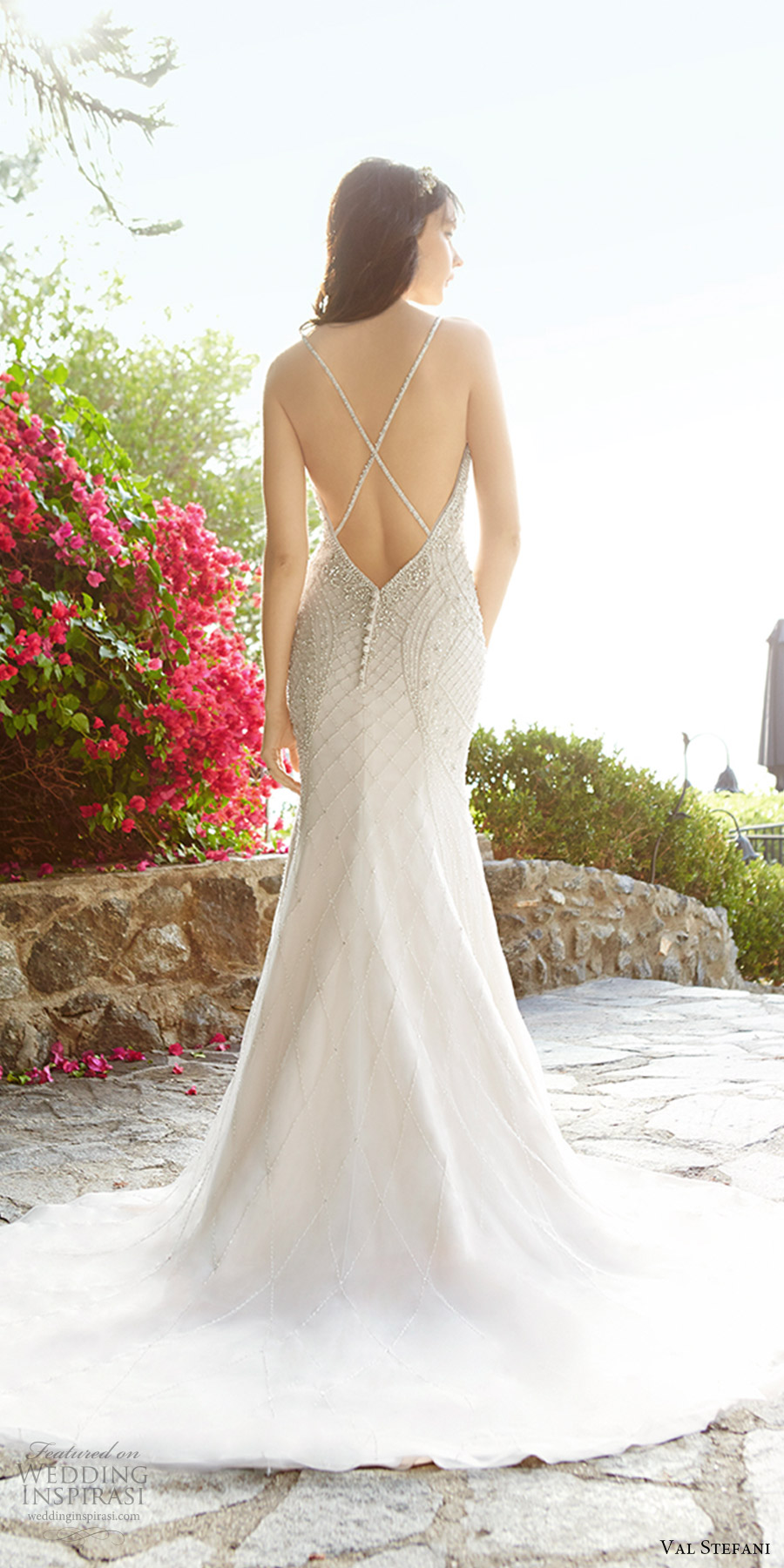 val stefani fall 2017 bridal sleeveless thin straps sweetheart beaded bodice fit flare mermaid wedding dress (d8137) bv open back cross straps train glam elegant