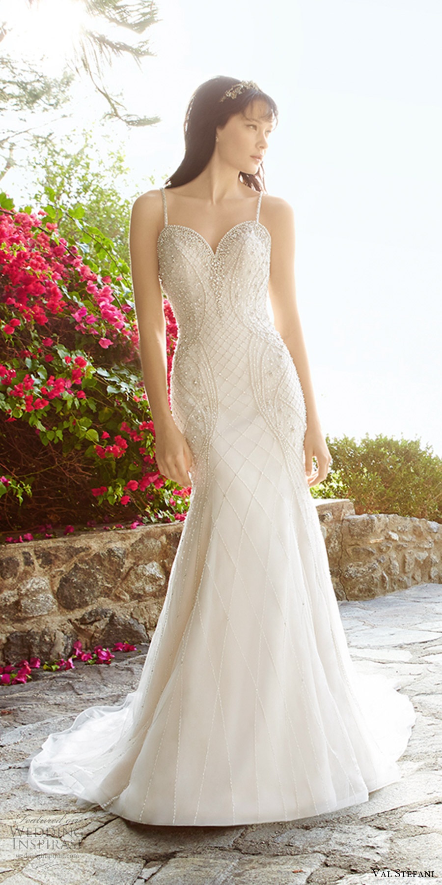 val stefani fall 2017 bridal sleeveless thin straps sweetheart beaded bodice fit flare mermaid wedding dress (d8137) mv open back cross straps train glam elegant