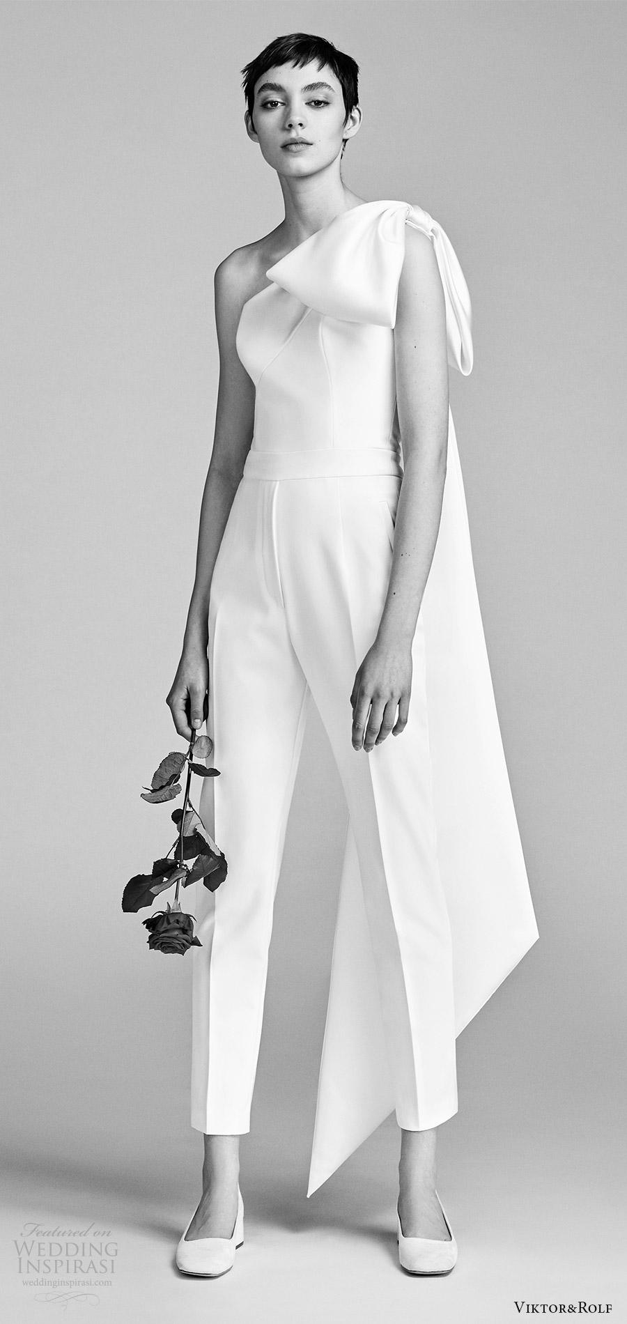 viktor and rolf spring 2018 bridal one shoulder bow pant jumpsuit wedding dress (7) mv modern clean