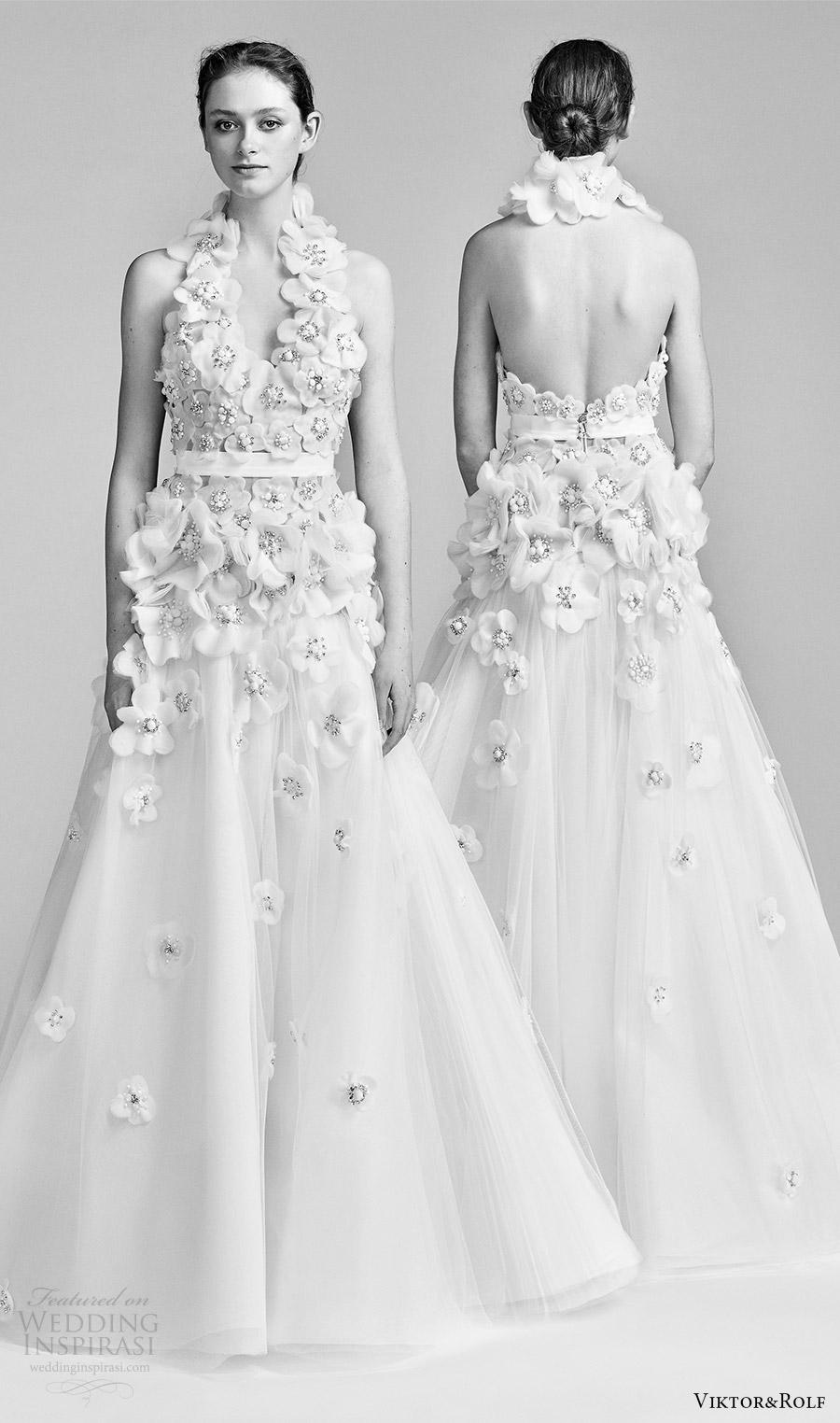 viktor and rolf spring 2018 bridal sleeveless halterneck embellished bodice a line wedding dress (20) mv bv low back boho romantic