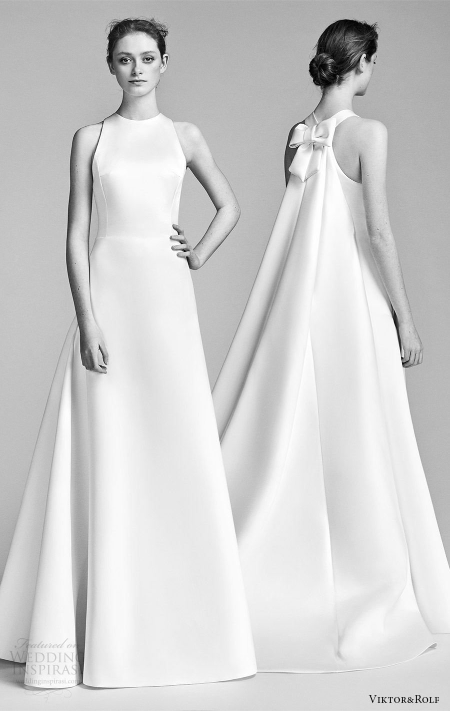 viktor and rolf spring 2018 bridal sleeveless jewel neck a line wedding dress (4) mv bow back watteau train clean modern