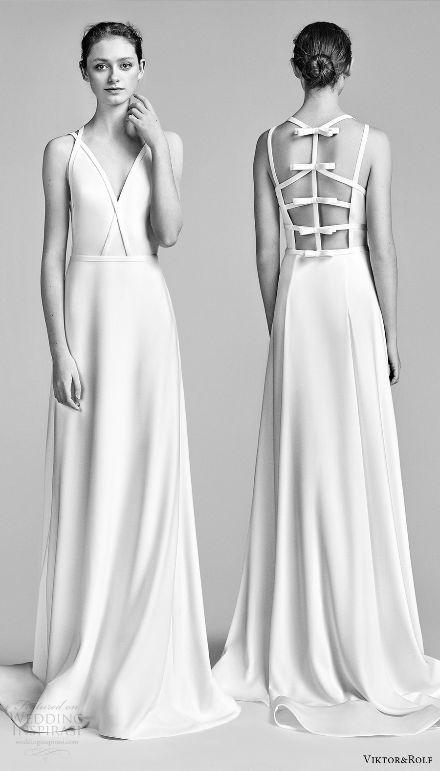 viktor and rolf spring 2018 bridal sleeveless v neck double strap a line wedding dress (14) mv bow back keyhole short train