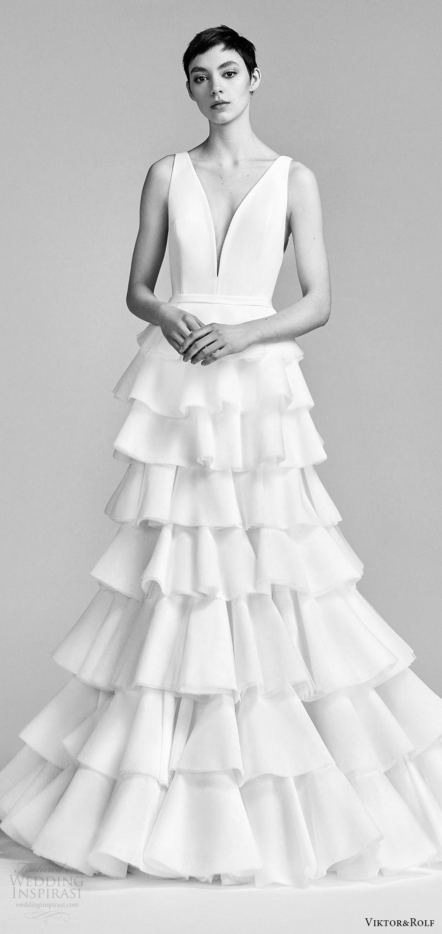 viktor and rolf spring 2018 bridal sleeveless v neck trumpet wedding dress ruffle tiered skirt (17) mv modern romantic