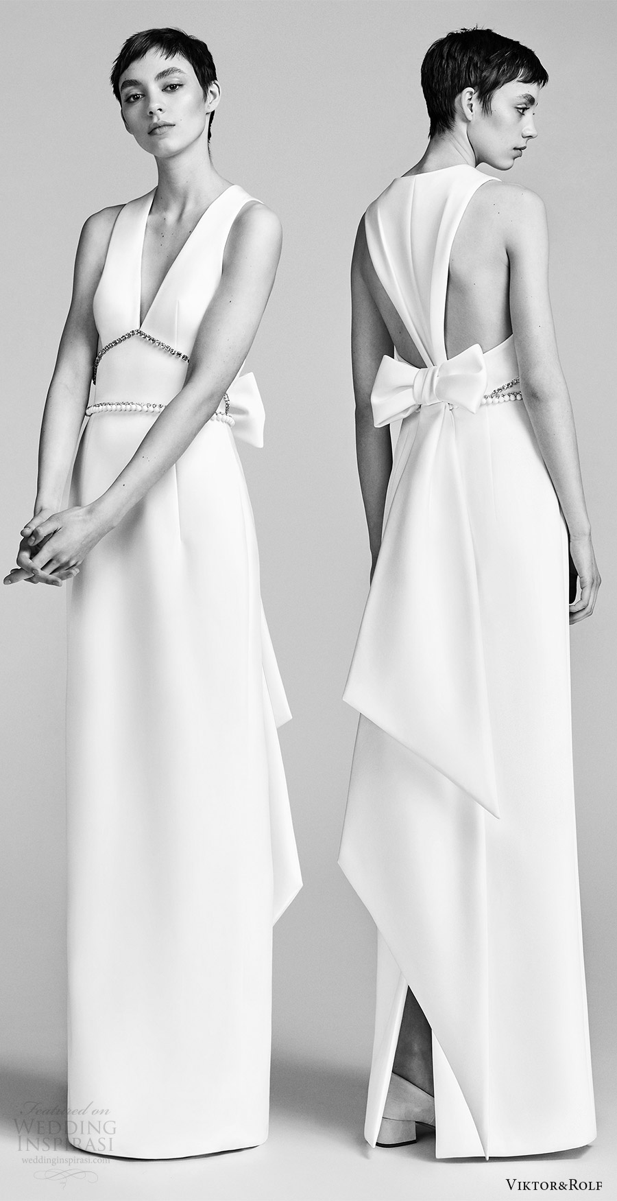 viktor and rolf spring 2018 bridal sleeveless vneck embellished waist column wedding dress (3) mv bow back modern