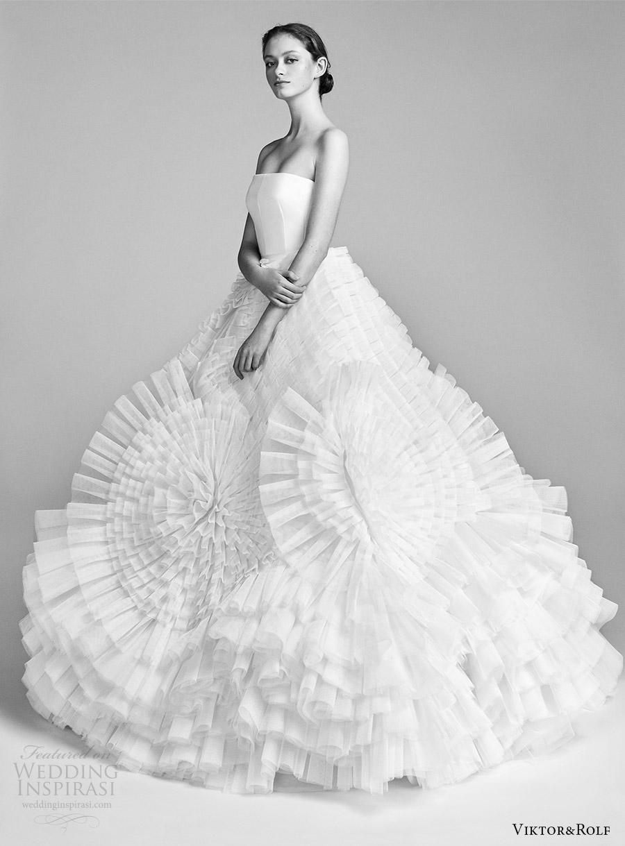 viktor and rolf spring 2018 bridal strapless straight across ball gown wedding dress (5) mv ruffle skirt modern