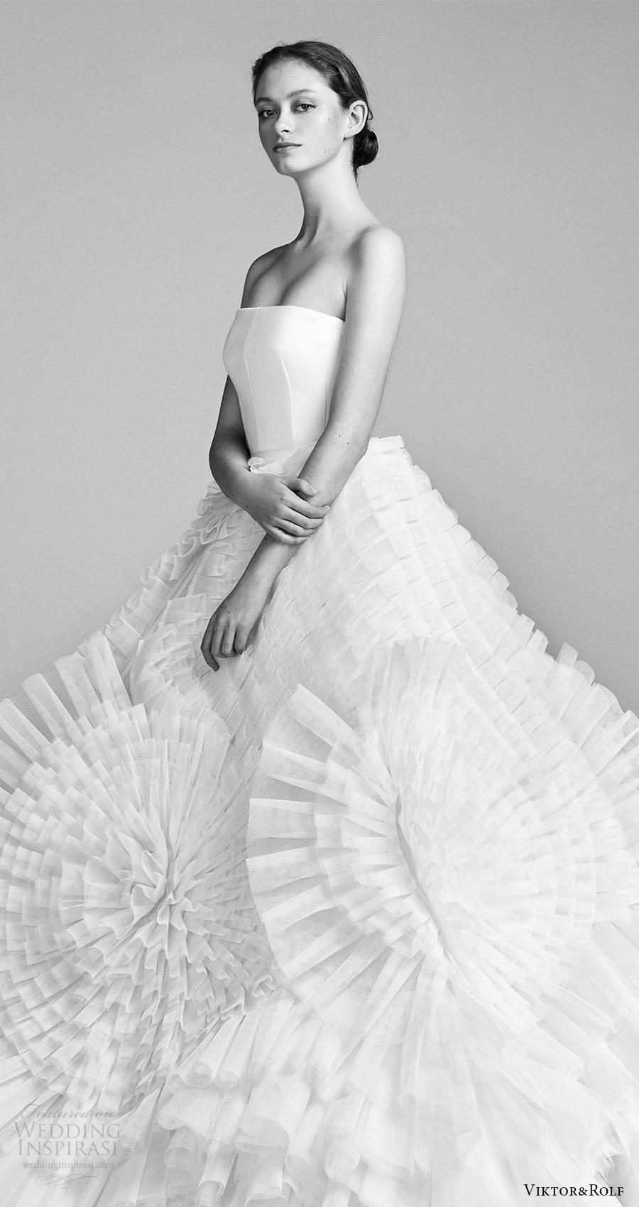 viktor and rolf spring 2018 bridal strapless straight across ball gown wedding dress (5) zv ruffle skirt modern