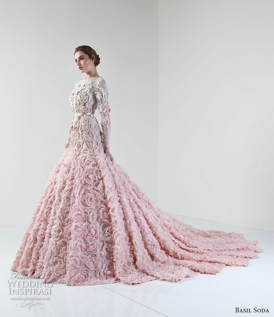 basil soda 2017 bridal long sleeves jewel neckline full embellishment pink princess a line wedding dress chapel train (1) mv