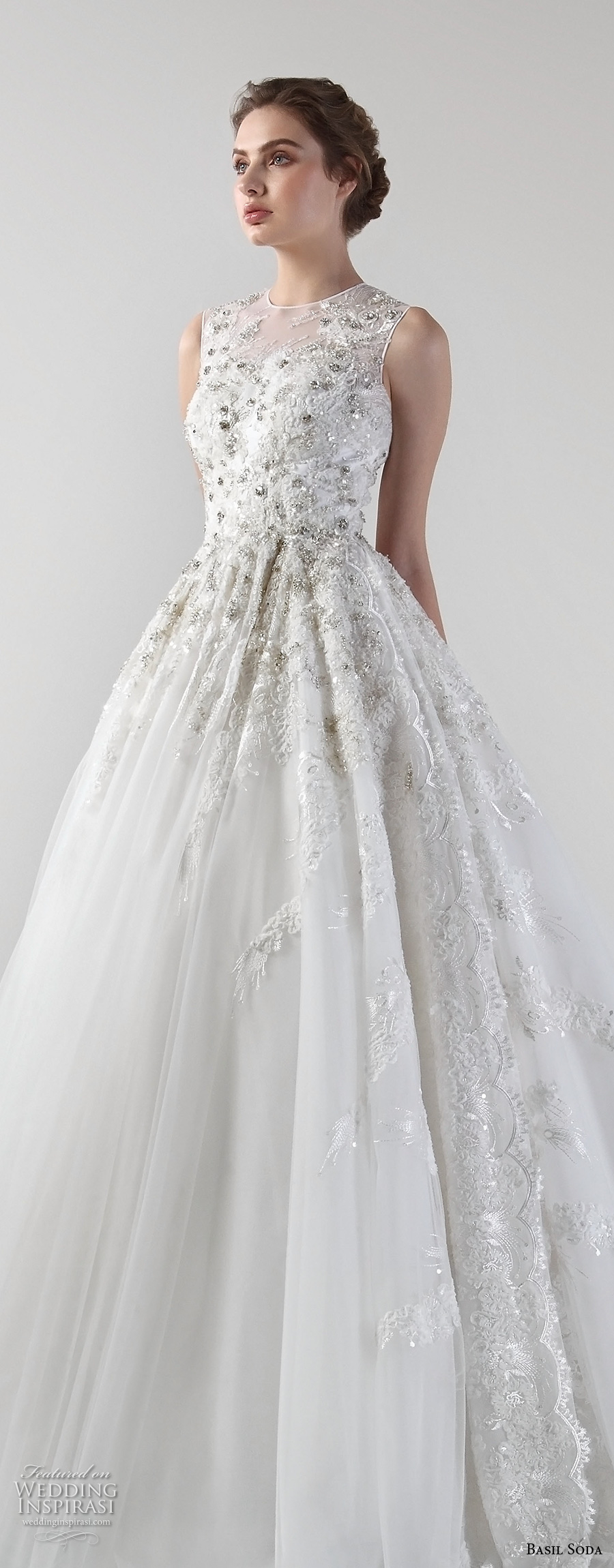 basil soda 2017 bridal sleeveless jewel neck heavily embellished beaded bodice romantic a line wedding dress chapel train (6) zv