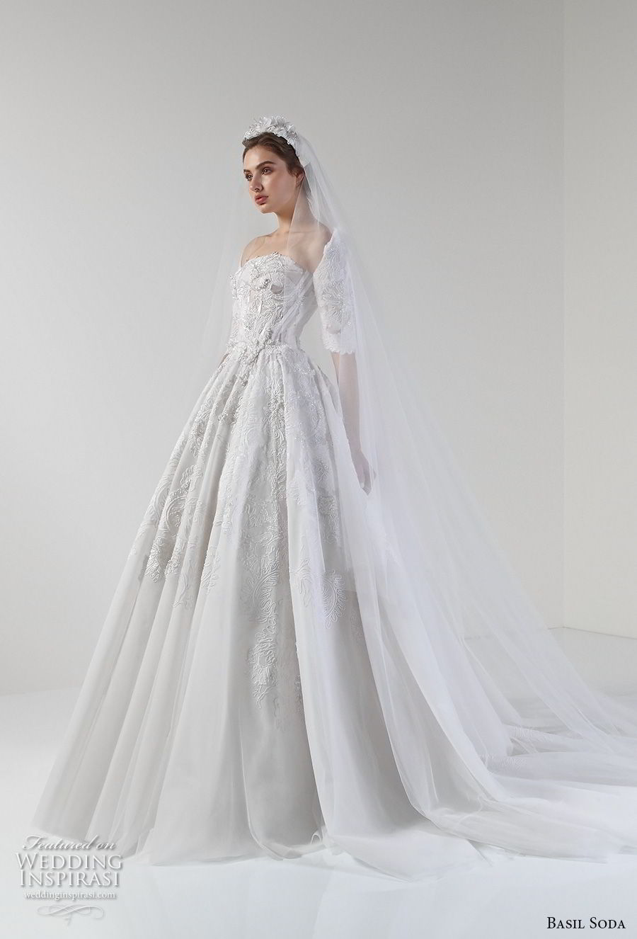 basil soda 2017 bridal strapless half sleeves straight across neckline heavily embellished princess ball gown a line wedding dress royal train (10) mv