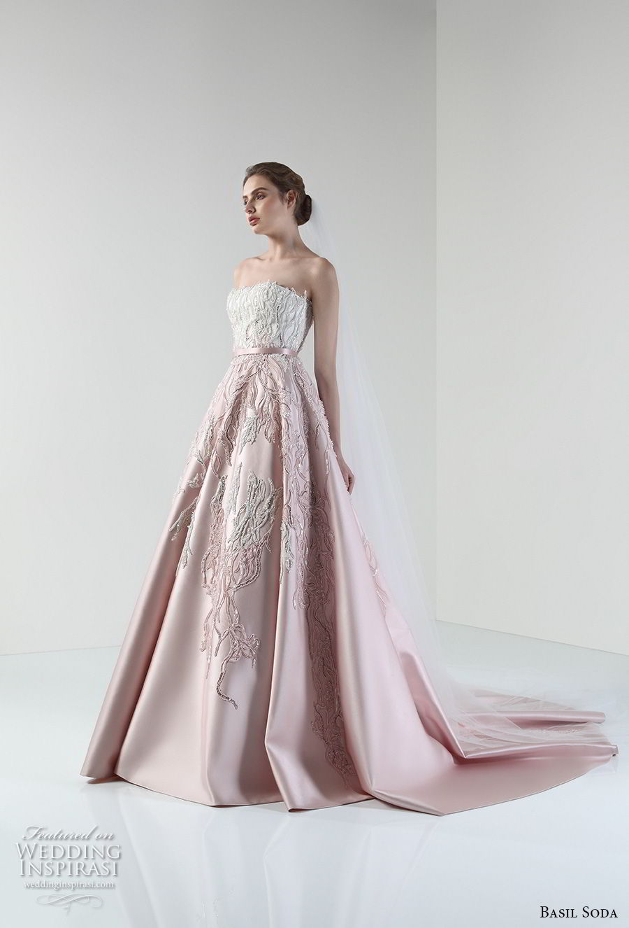 basil soda 2017 bridal strapless straight across heavily embellished bodice romantic princess pink a line wedding dress chapel train (11) mv