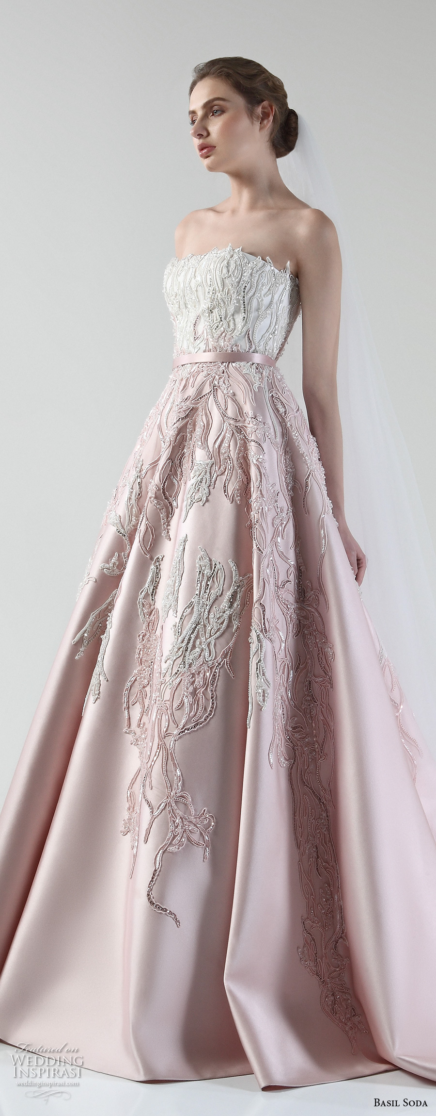 basil soda 2017 bridal strapless straight across heavily embellished bodice romantic princess pink a line wedding dress chapel train (11) zv
