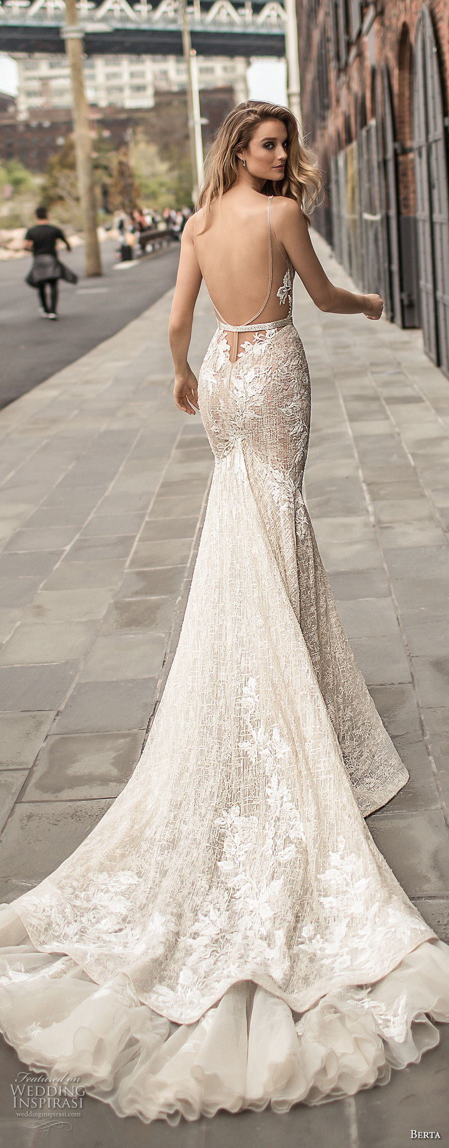 berta spring 2018 bridal sleeveless deep plunging v neckline full embellishment sexy elegant fit and flare wedding dress open low back chapel train (7) bv