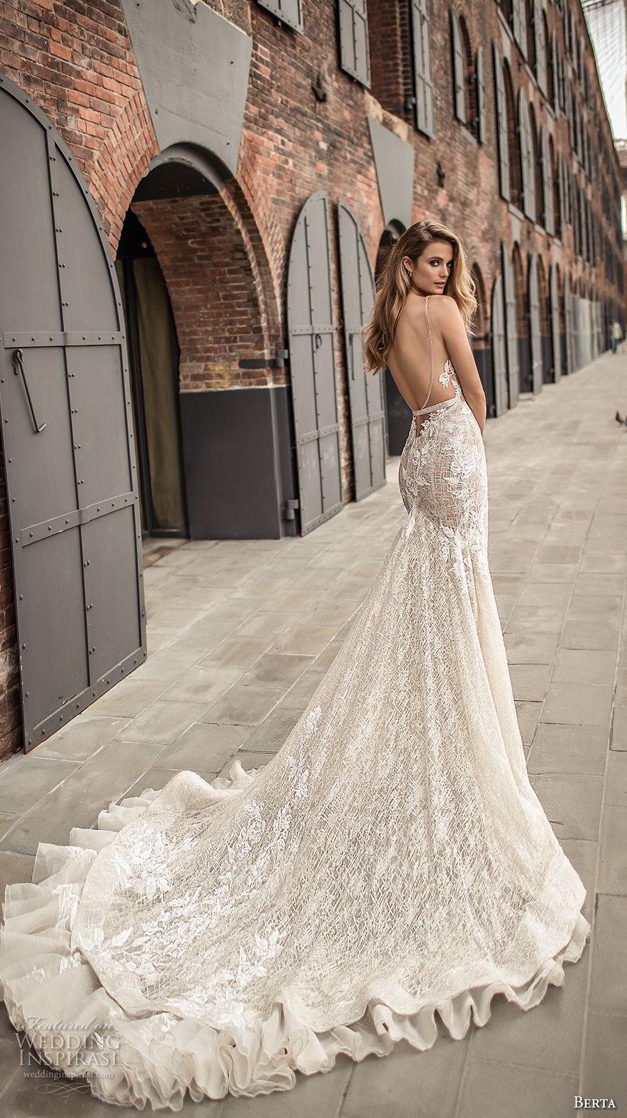 berta spring 2018 bridal sleeveless deep plunging v neckline full embellishment sexy elegant fit and flare wedding dress open low back chapel train (7) bv