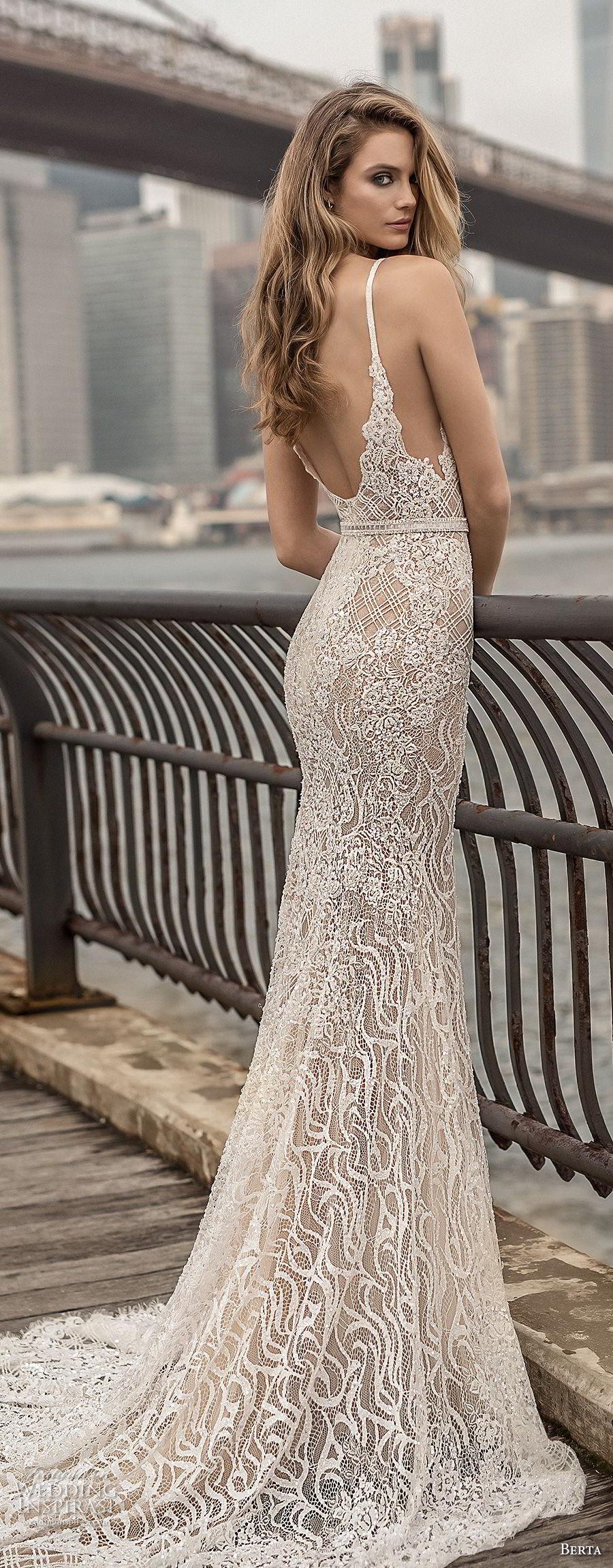 berta spring 2018 bridal spaghetti strap deep plunging sweetheart neckline full embellishment sexy elegant fit and flare wedding dress open scoop back chapel train (6) bv