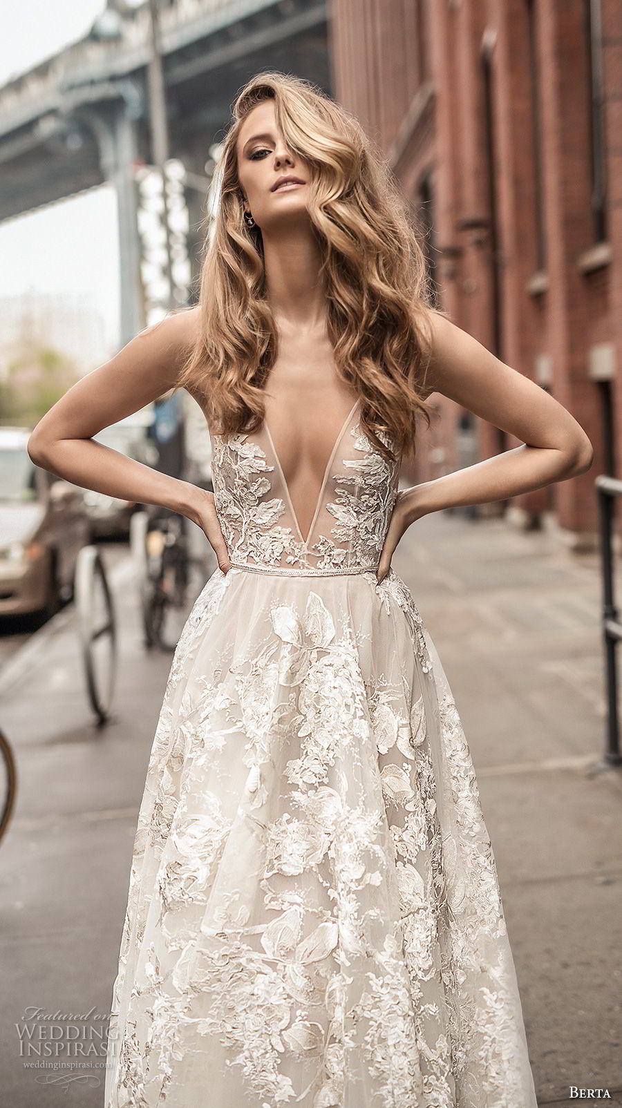 berta spring 2018 bridal spaghetti strap deep plunging v neck full embellishment sexy romantic a  line wedding dress open back chapel train (1) zv