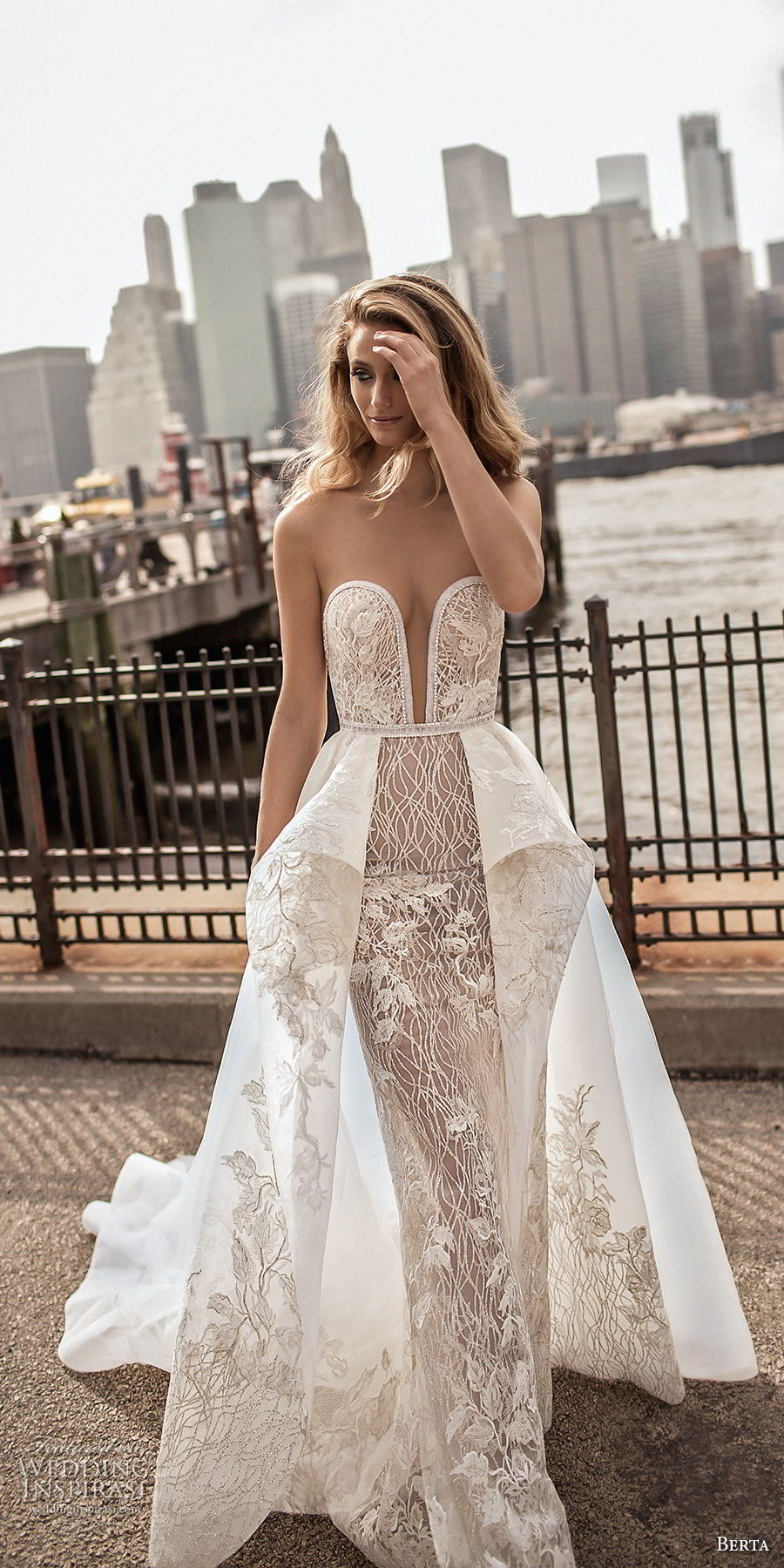 berta spring 2018 bridal strapless deep plunging sweetheart neckline full embellishment sexy romantic peplum a  line wedding dress open back chapel train (9) mv