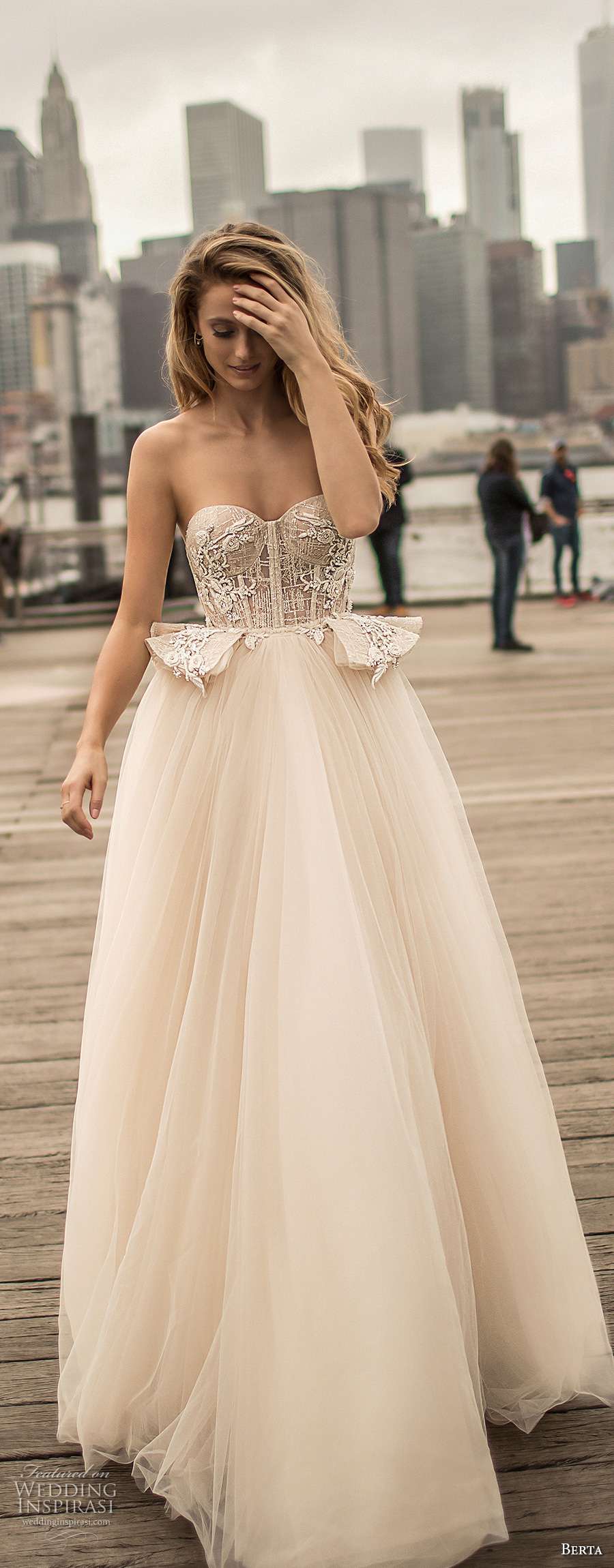 berta spring 2018 bridal strapless sweetheart neckline heavily embellished bodice bustier sexy romantic ball gown wedding dress chapel train (12) mv