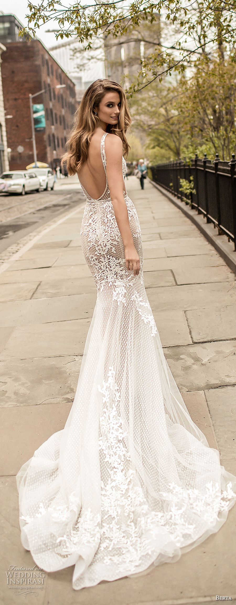 berta spring 2018 bridal thin strap deep plunging v neck full embellishment elegant sexy fit and flare wedding dress cape open back chapel train (15) bv