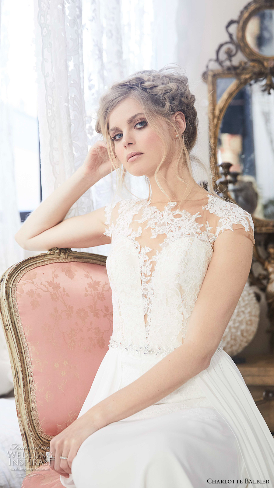 charlotte balbier 2018 bridal cap sleeves illusion bateau deep plunging sweetheart neck heavily embellished bodice flowy skirt a  line wedding dress sheer lace back short train (poem) zv