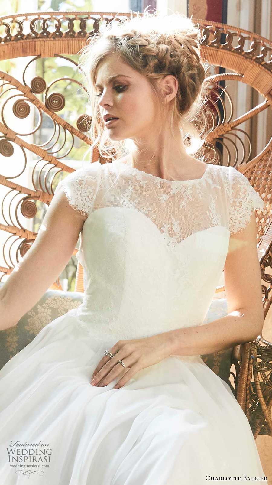 charlotte balbier 2018 bridal cap sleeves illusion jewel sweetheart neckline lighty embellished bodice romantic a  line wedding dress  short train (tabby) zv