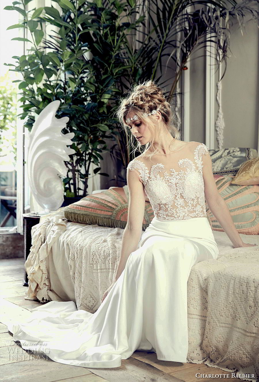 charlotte balbier 2018 bridal cap sleeves sheer jewel neck sweetheart neckline heavily embellished bodice clean skirt elegant sheath wedding dress chapel train (symphony) mv