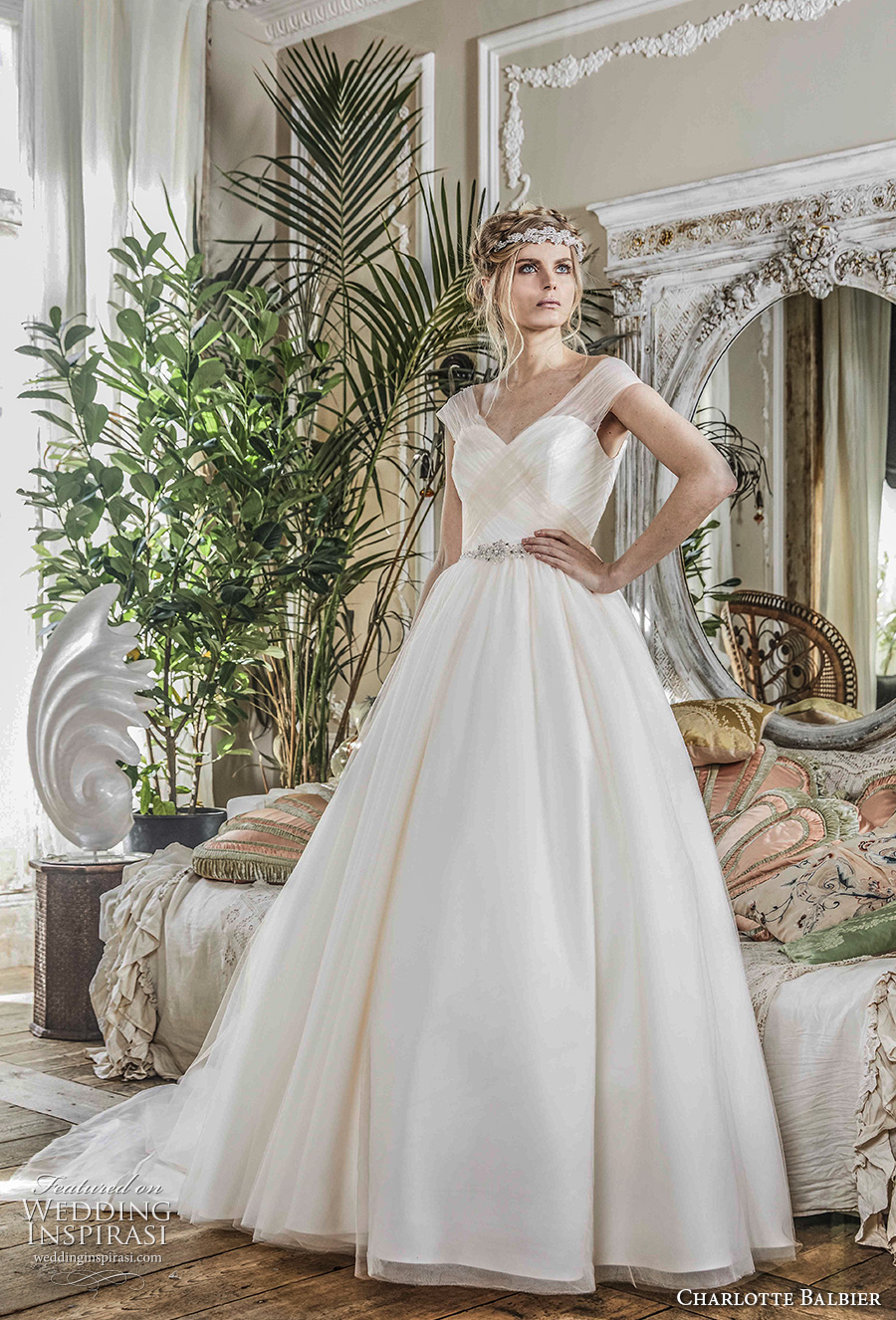 charlotte balbier 2018 bridal cap sleeves v neck simple ruched bodice elegant romantic a  line wedding dress sweep train (forever) mv