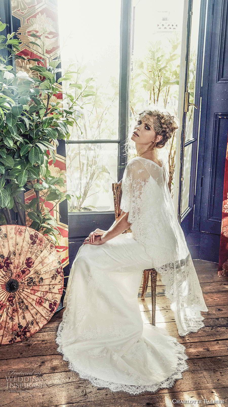 charlotte balbier 2018 bridal half angle sleeves v neck light embellshment romantic column a  line wedding dress lace cape sweep train (romy) bv