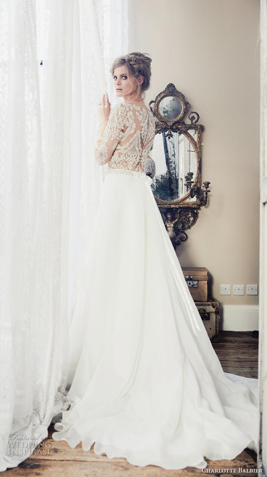 charlotte balbier 2018 bridal long sleeves bateau neckline heavily embellished bodice romantic elegant a  line wedding dress covered lace back chapel train (klara) bv