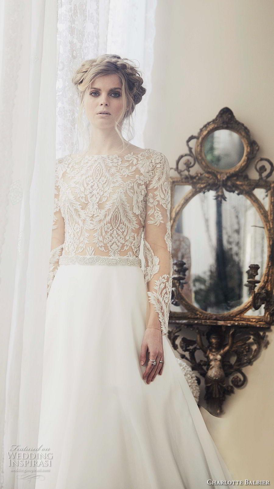 charlotte balbier 2018 bridal long sleeves bateau neckline heavily embellished bodice romantic elegant a  line wedding dress covered lace back chapel train (klara) zv