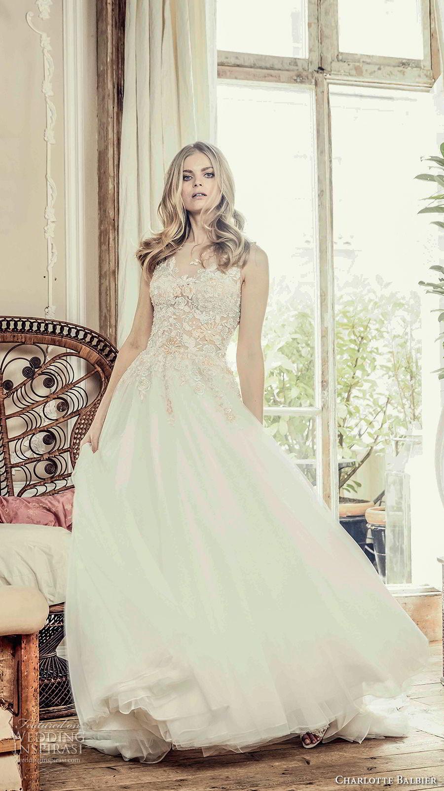charlotte balbier 2018 bridal sleeveless illusion bateau sweetheart neckline heavily embellished bodice romantic a  line wedding dress short train (sonnett) mv