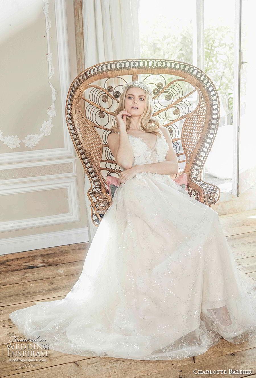 charlotte balbier 2018 bridal sleeveless v neck heavily embellished bodice romantic a  line wedding dress (halo) mv