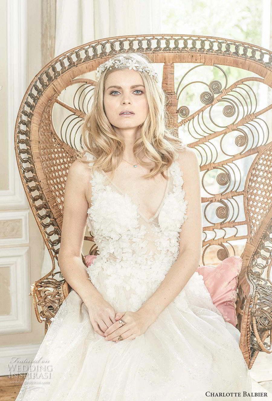 charlotte balbier 2018 bridal sleeveless v neck heavily embellished bodice romantic a  line wedding dress (halo) zv
