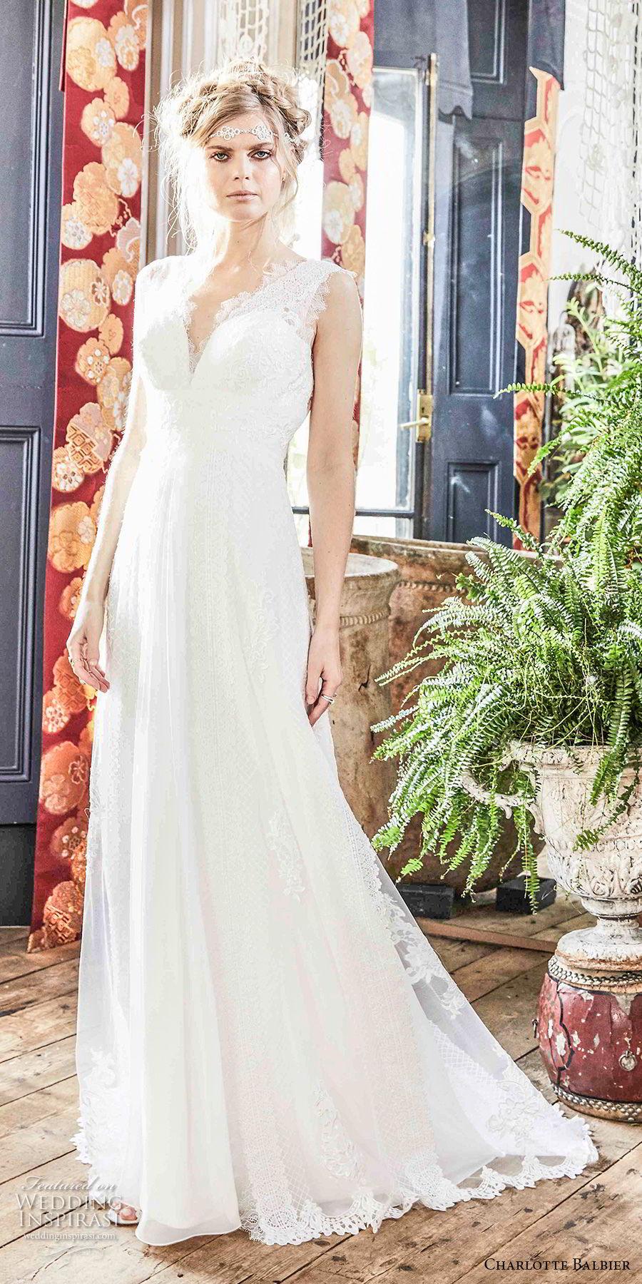 charlotte balbier 2018 bridal sleeveless v neck sweetheart neckline full embellishment romantic flowy skirt modified a  line weddng dress sweep train (alora) mv