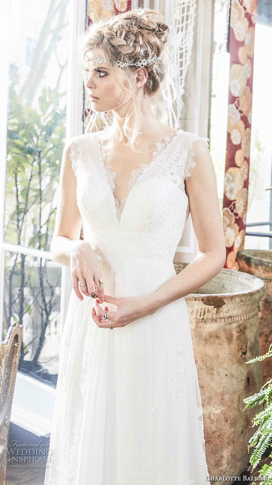 charlotte balbier 2018 bridal sleeveless v neck sweetheart neckline full embellishment romantic flowy skirt modified a  line weddng dress sweep train (alora) zv