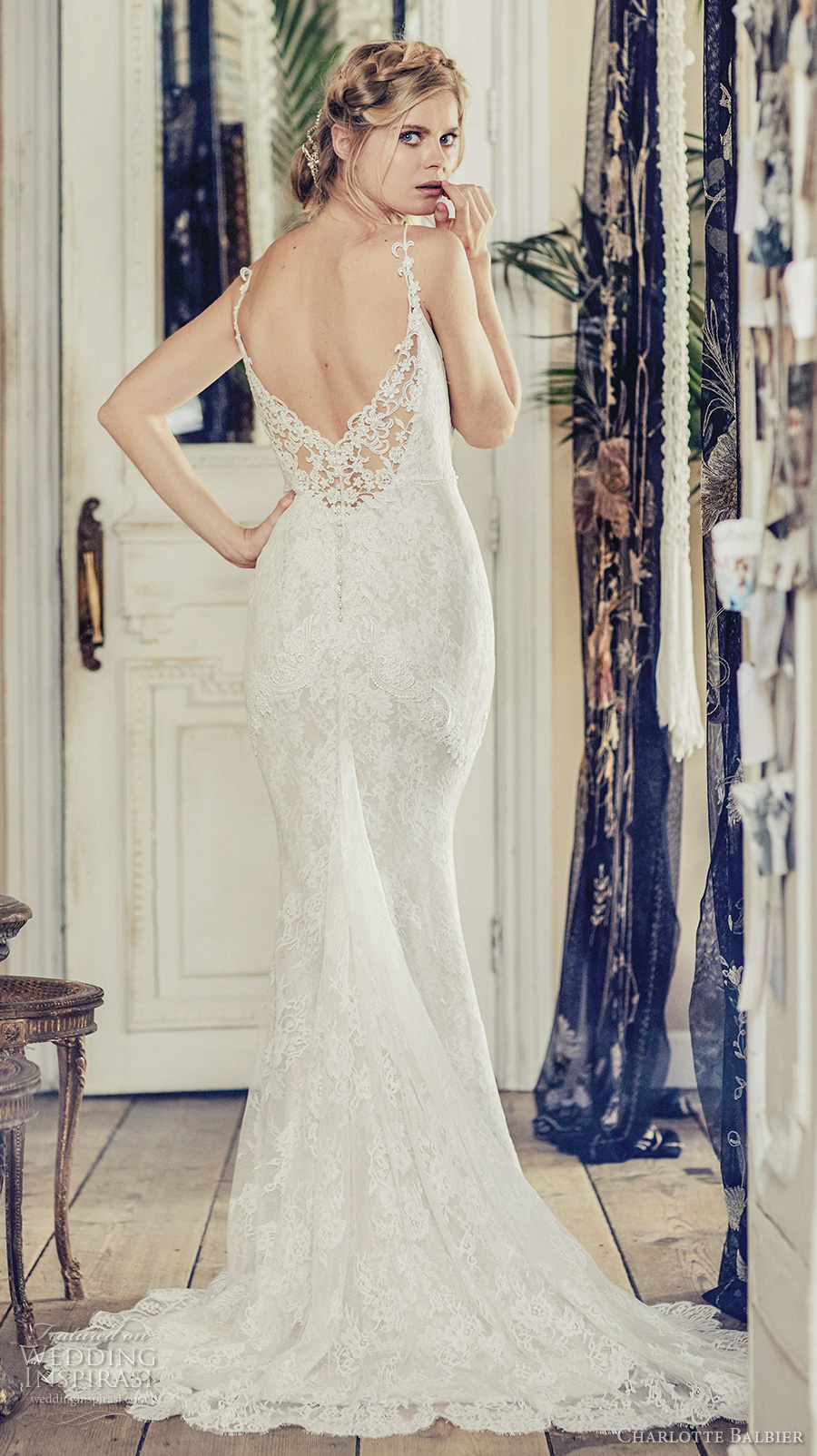 charlotte balbier 2018 bridal spaghetti strap sweetheart neckline full embellishment elegant romantic sheath wedding dress open back sweep train (nyree) bv