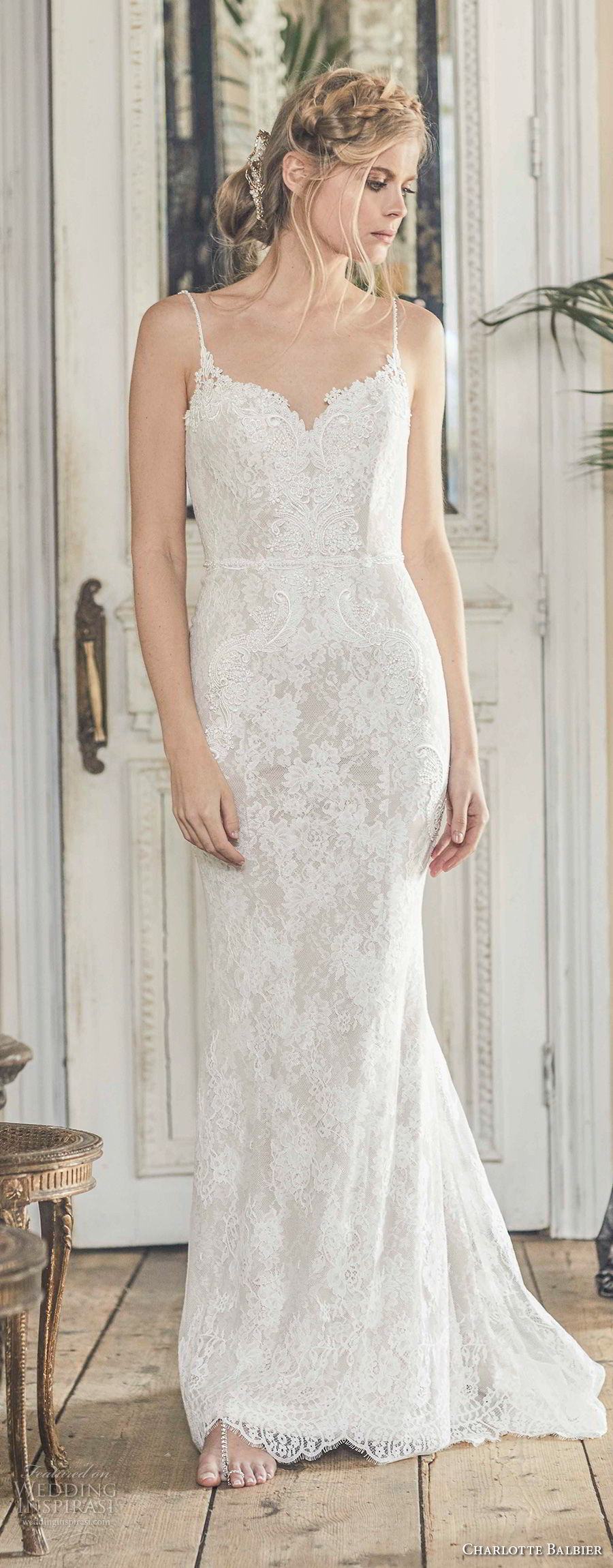 charlotte balbier 2018 bridal spaghetti strap sweetheart neckline full embellishment elegant romantic sheath wedding dress open back sweep train (nyree) mv