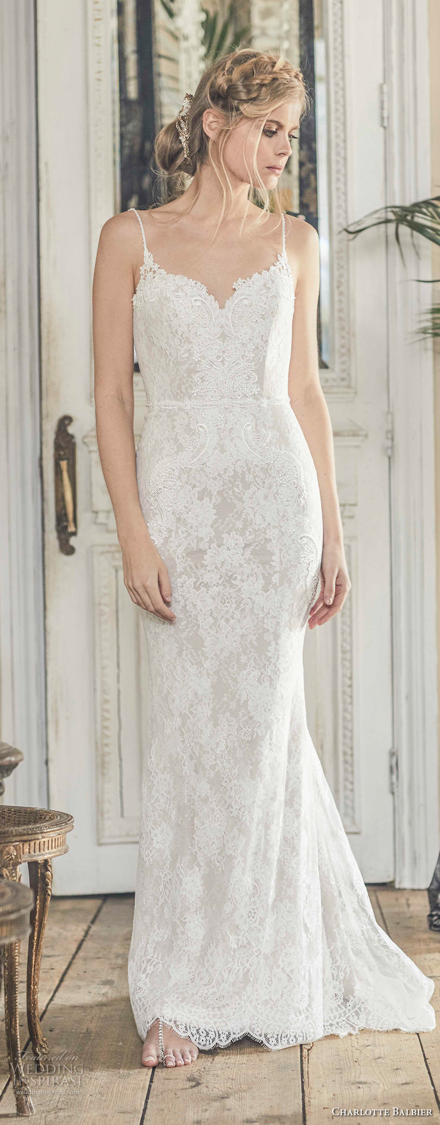 charlotte balbier 2018 bridal spaghetti strap sweetheart neckline full embellishment elegant romantic sheath wedding dress open back sweep train (nyree) mv