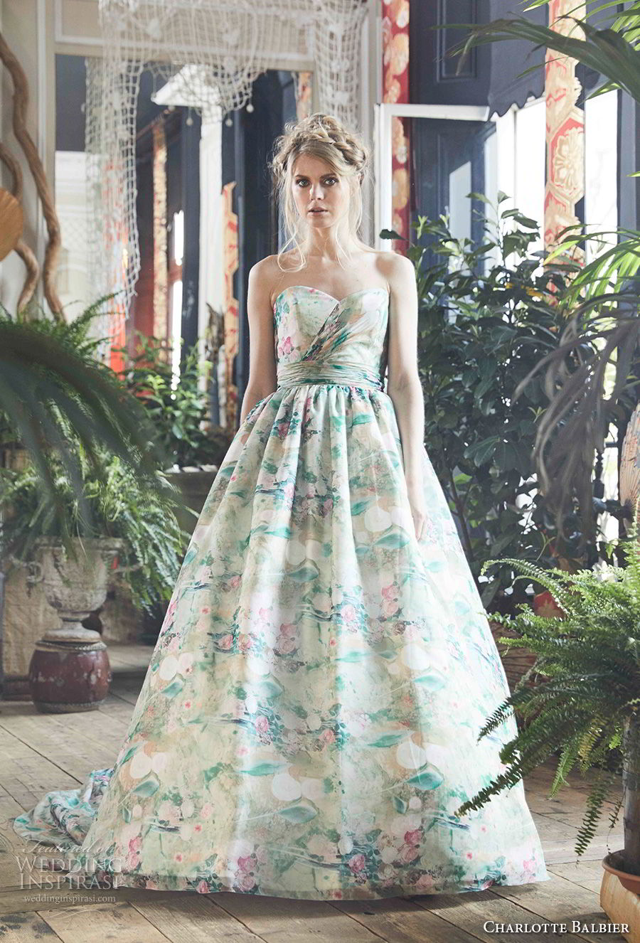 charlotte balbier 2018 bridal strapless sweetheart neckline wrap over bodice romantic colored green a  line wedding dress ribbon back chapel train (jayde) mv