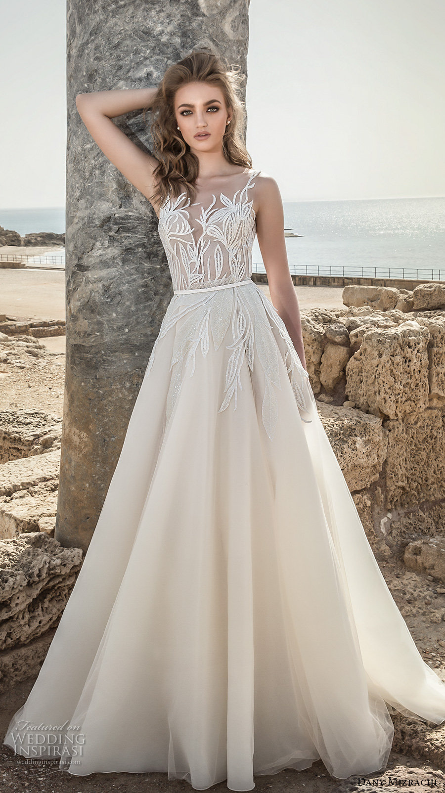 dany mizrachi 2018 bridal embroidered strap sleeveless deep plunging sweetheart neckline heavily embellished bodice romantic a  line wedding dress open scoop back (10) mv
