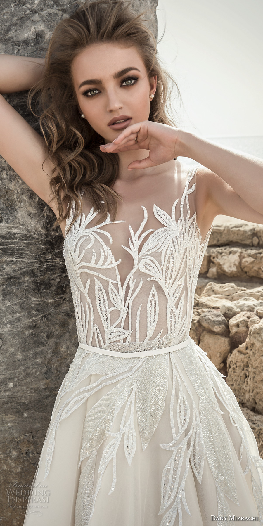 dany mizrachi 2018 bridal embroidered strap sleeveless deep plunging sweetheart neckline heavily embellished bodice romantic a  line wedding dress open scoop back (10) zv