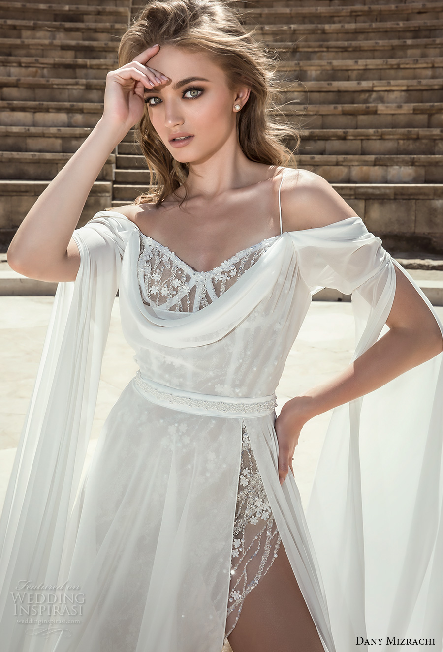 dany mizrachi 2018 bridal long angle sleeves off shoulder sweetheart neckline high side slit flowy skirt grecian a  line wedding dress (2) zv