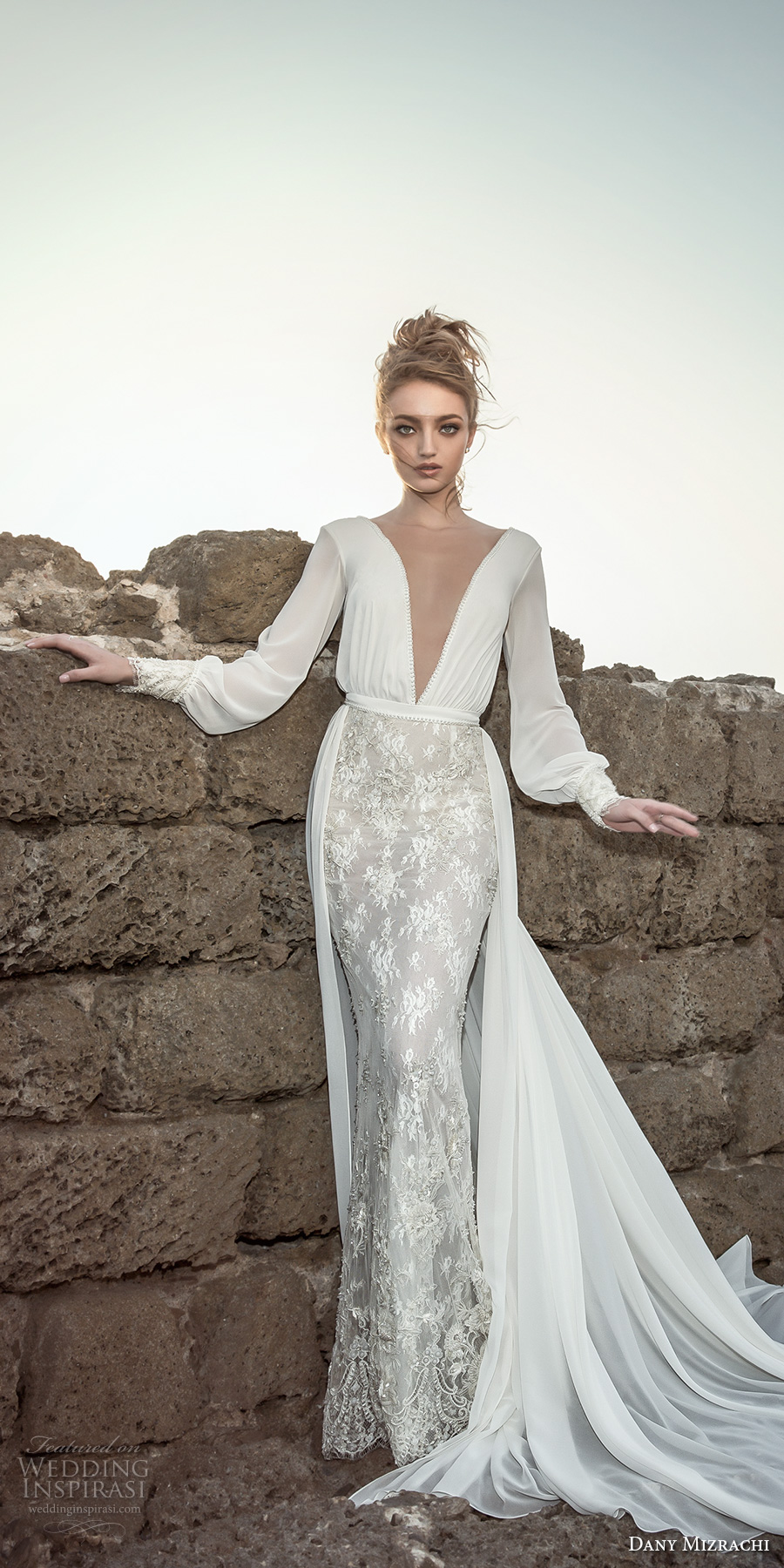dany mizrachi 2018 bridal long bishop sleeves deep plunging v neck heavily embellished skirt elegant sexy fit and flarew wedding dress a line overskirt open v back chapel train (17) mv