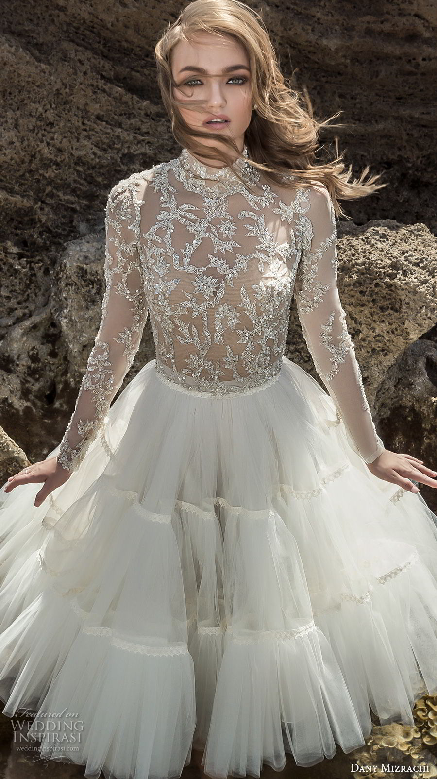 dany mizrachi 2018 bridal long sleeves high neck heavily embellished bodice tulle skirt glamorous above the knee short wedding dress (24) mv