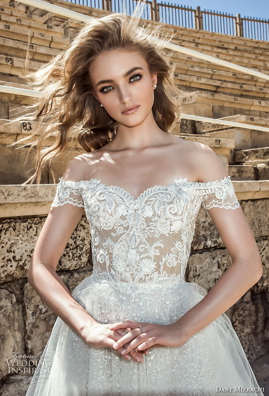dany mizrachi 2018 bridal off shoulder sweetheart neckline full embellishment tulle skirt elegant romantic a line wedding dress lace back short train (1) zv